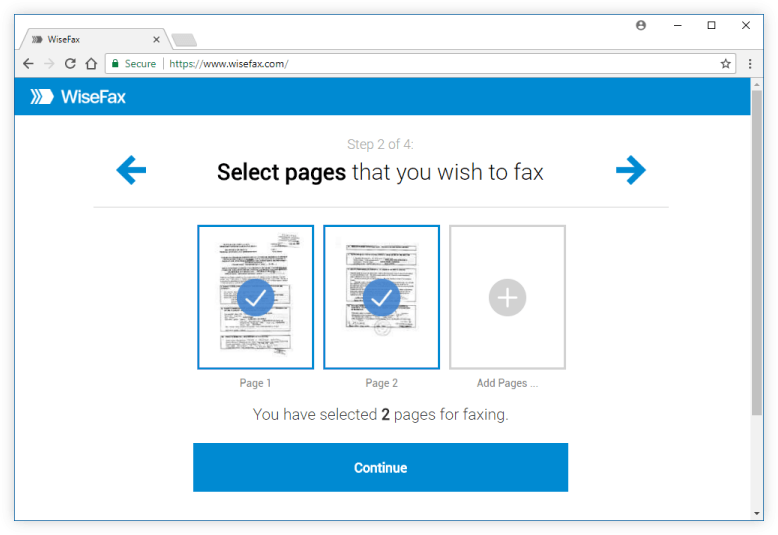Select pages and send online fax