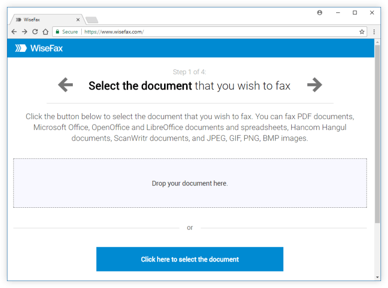 Upload a document for faxing