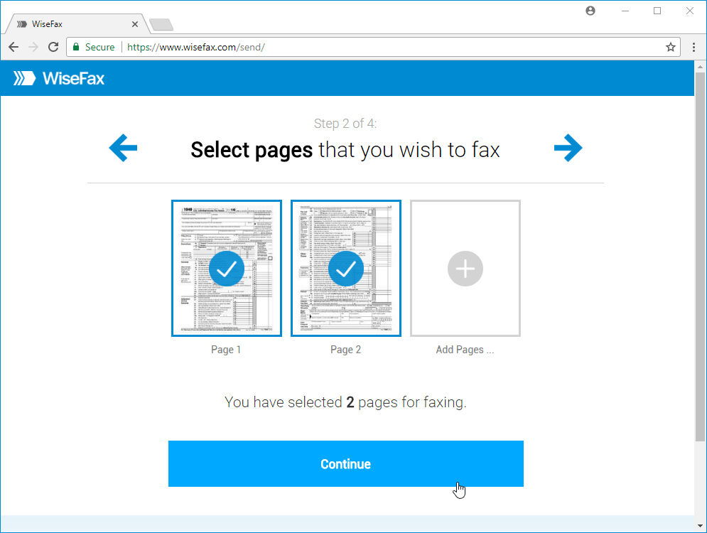 Send fax from Google Chrome with WiseFax