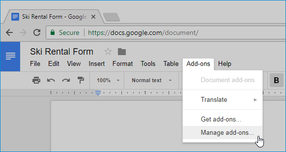 Add WiseFax add-on to Google Docs