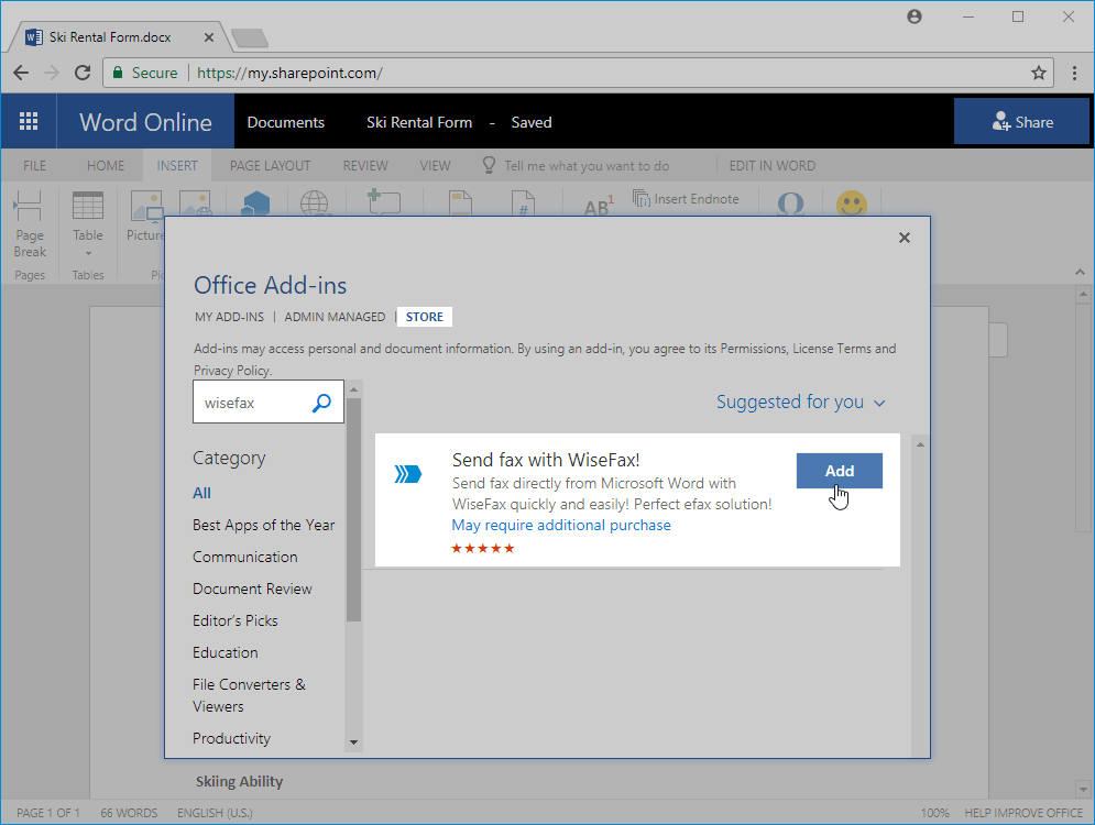 Send fax from Office 365