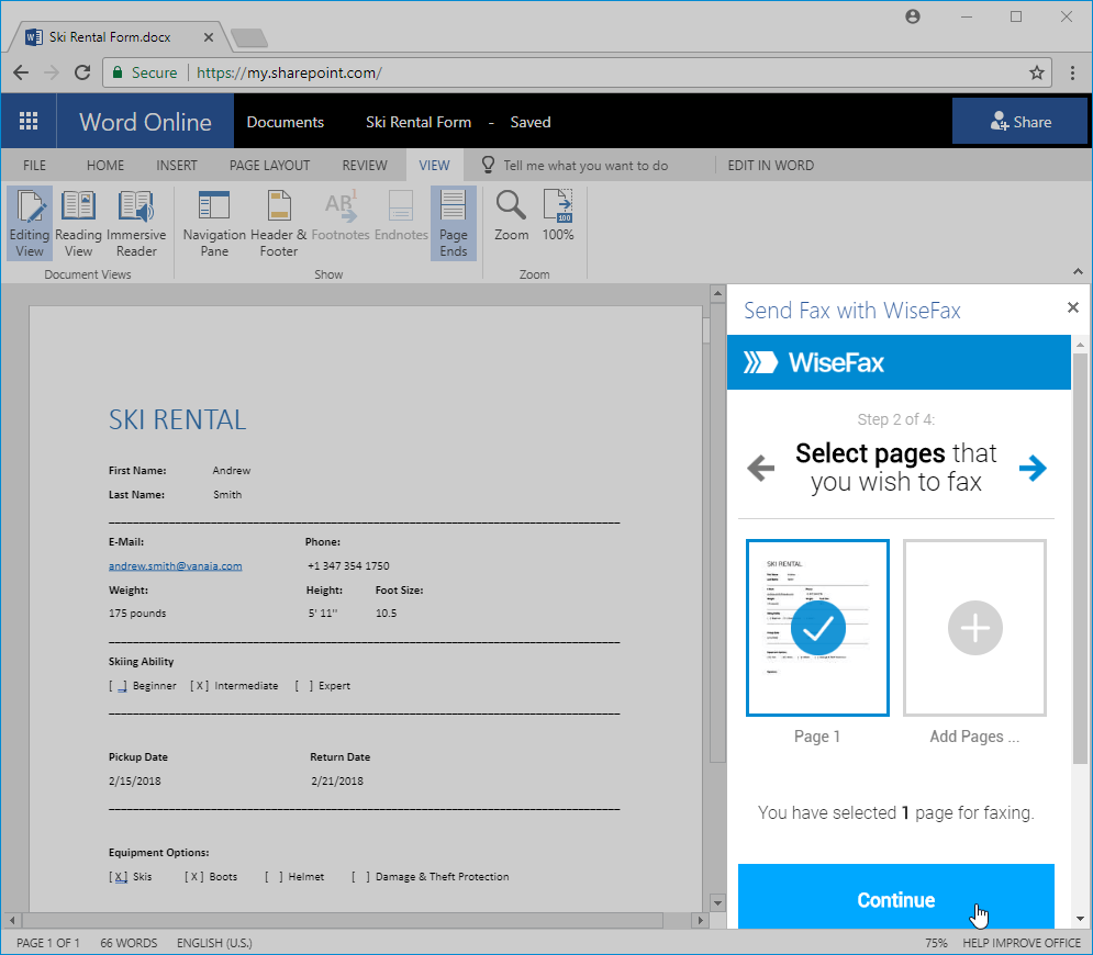 Send fax from Office 365 with WiseFax