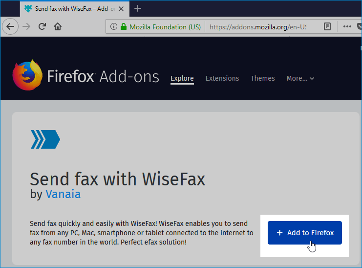 WiseFax Firefox Add-on
