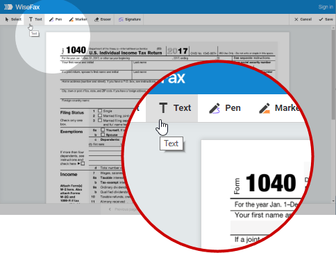 Prepare a document for faxing with WiseFax