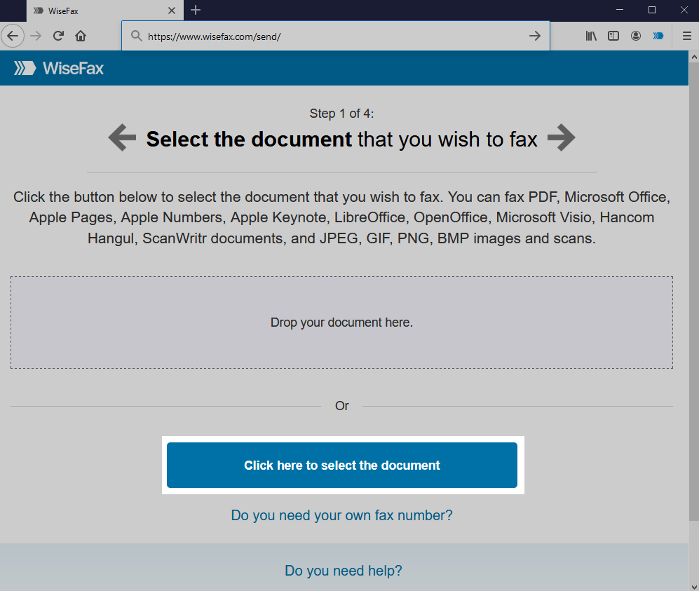 Firefox - Send fax - Select the document