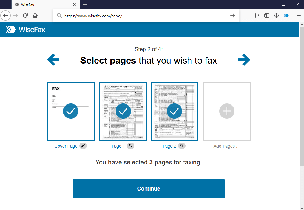 Firefox - Send fax - Select pages for faxing